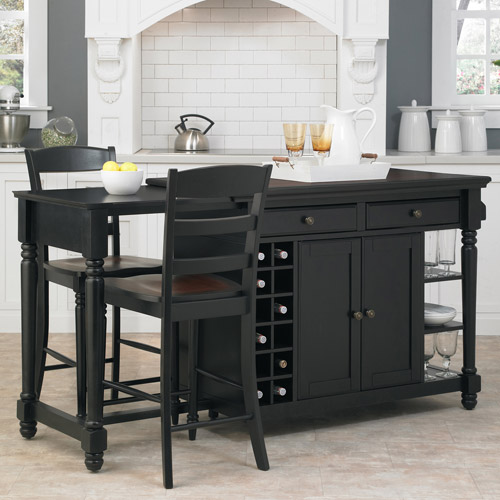home styles grand torino kitchen island and 2 stools black