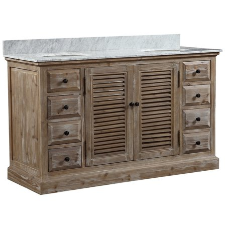 Infurniture Carrera White Top 60 Inch Rustic Style Double Sink