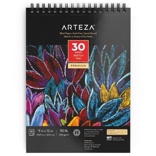 """Arteza 9X12"""" Black Sketch Pad, 30 Sheets (90lb/150gsm ..."""