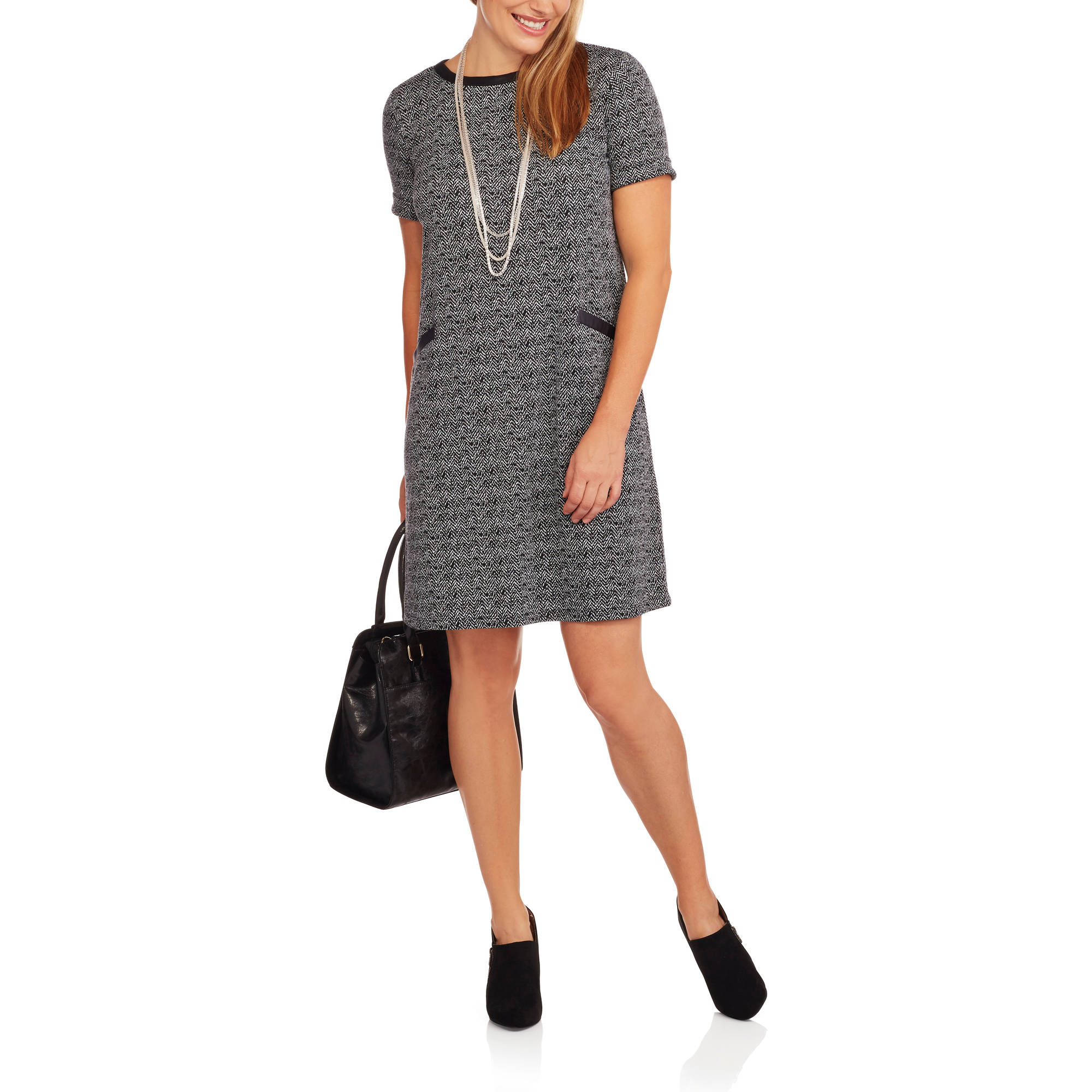 Concepts Women's Tee Shirt Dress with Faux Leather Trim