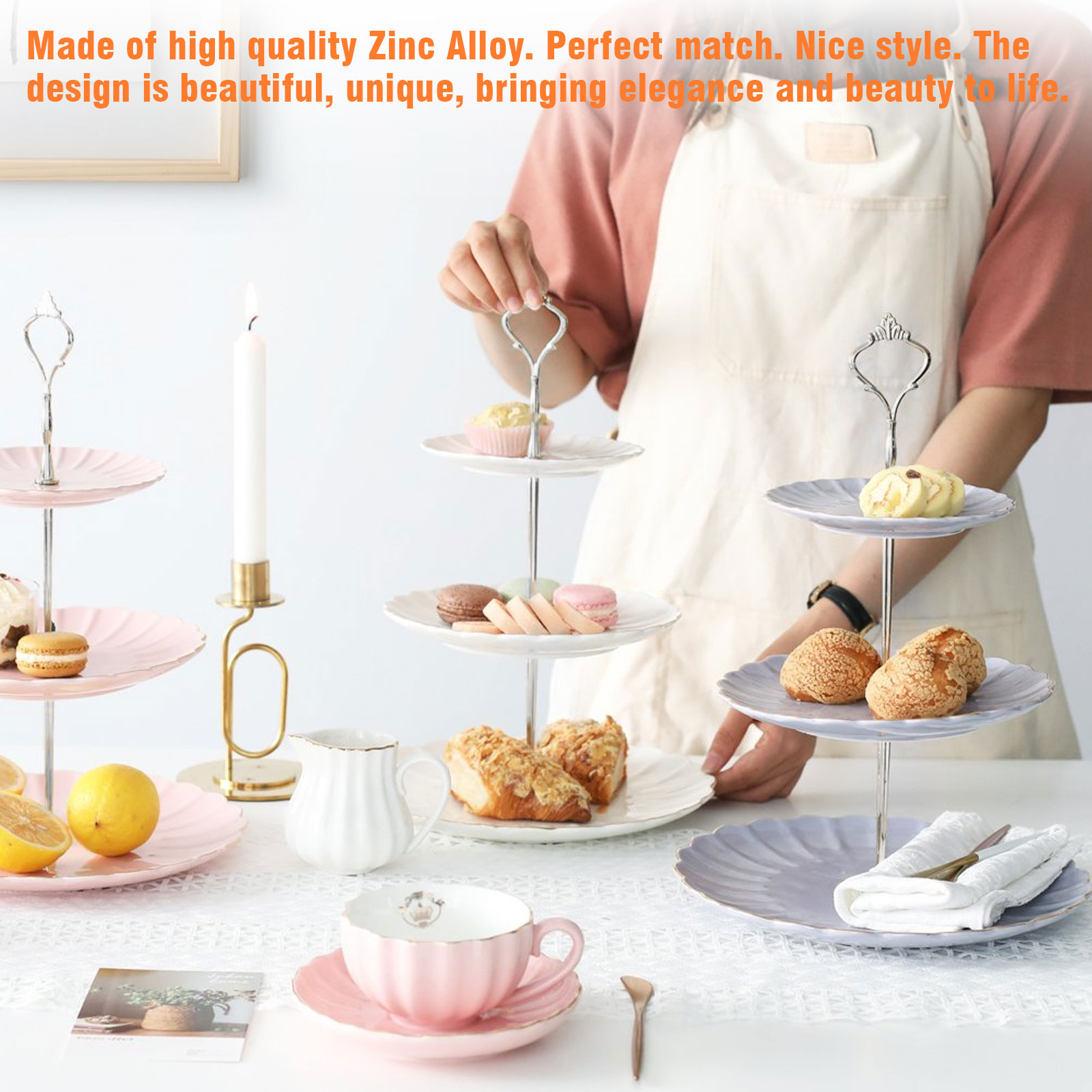 Cake stand handle  hardware 3 tier silver Clover for DIY cake plate  stand dessert serving tray