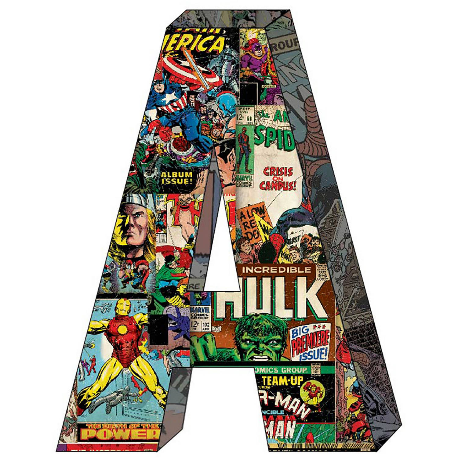Marvel Retro Comics Wood Letter 'A' with hooks