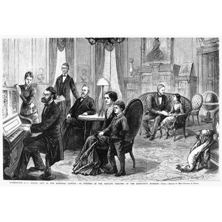 Rutherford B Hayes N(1822-1893) 19Th President Of The United States Hayes (Seated At Table) Relaxing With Family And Friends At The White House Line Engraving American Late 19Th Century Rolled (Friends And Family White House Black Market)