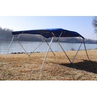 """New Royal Blue Vortex Pontoon / Deck Boat 4 Bow Bimini Top 8' Long, 91-96"""" Wide, 54"""" High, Complete Kit, Frame, Canopy, and Hardware"""