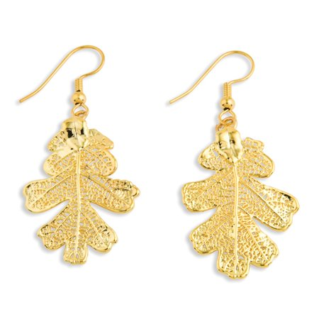 Flowers & Leaves 24k Gold Dipped Oak Leaf Shepherd Hook Dangle Earrings