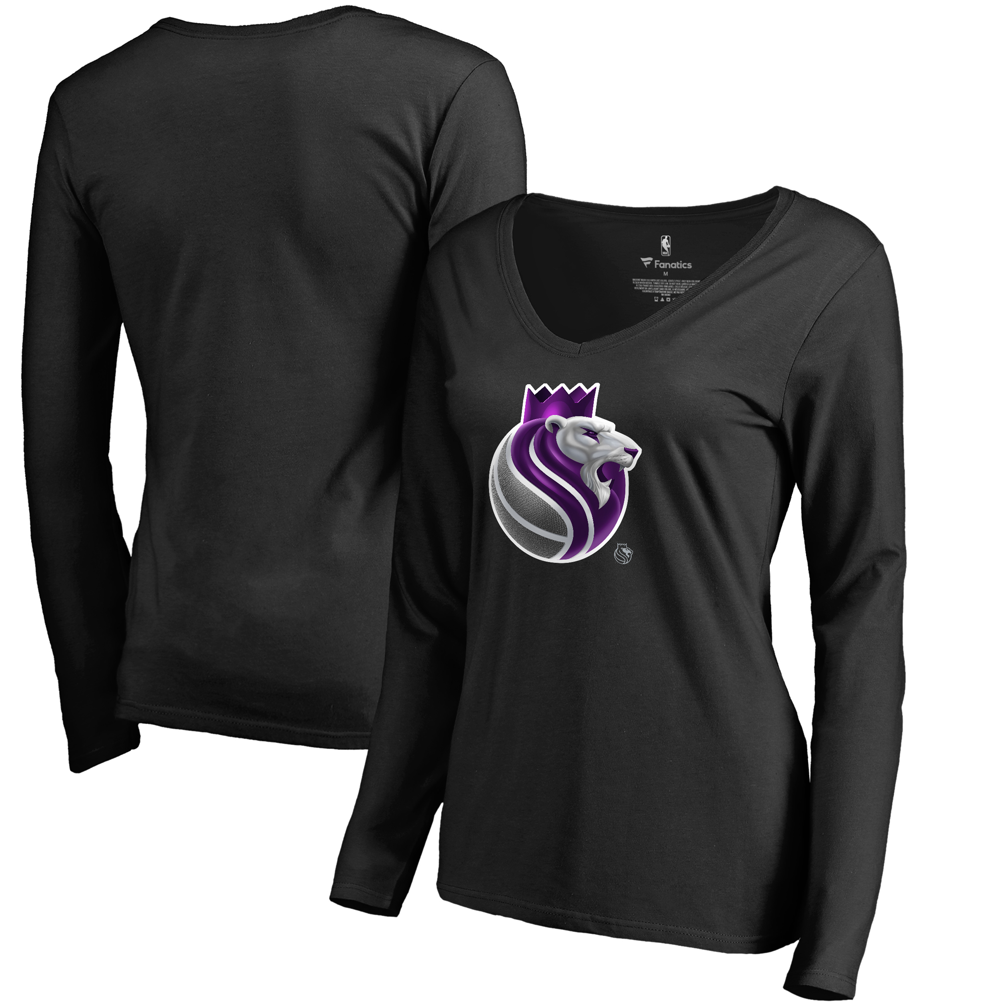 Sacramento Kings Fanatics Branded Women's Midnight Mascot Long Sleeve V-Neck T-Shirt - Black
