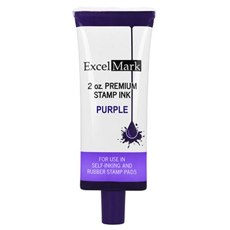 Self Inking Stamp Refill Ink by ExcelMark - 2 oz. - Purple Ink - SHIPS FREE 2 Self Inking
