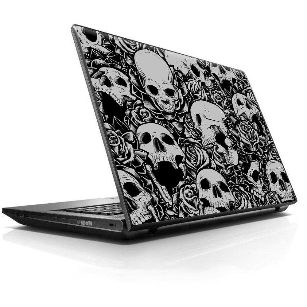 "Laptop Notebook Universal Skin Decal Fits 13.3"" to 15.6"" / Skulls n Roses Black White Screaming"