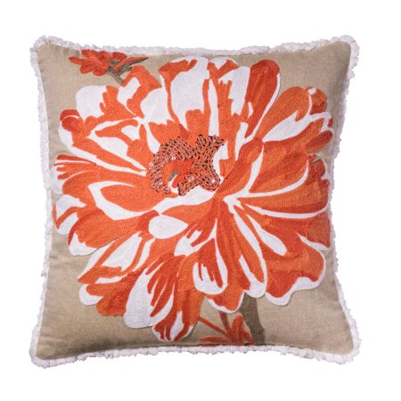 Better Homes and Gardens Bold Bloom Accent Pillow, Coral, 17