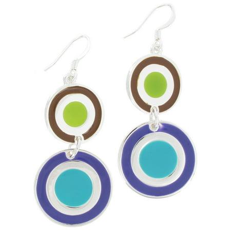 Brown Green Aqua Purple Enamel Silver Tone Circle Disc Pierced Dangle Earrings Enamel Pierced Earrings