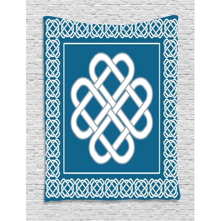 Irish Tapestry, Celtic Love Knot Good Fortune Symbol Framework Border Historical Amulet Design, Wall Hanging for Bedroom Living Room Dorm Decor, Dark Aqua White, by (Irish Wall Tapestry)
