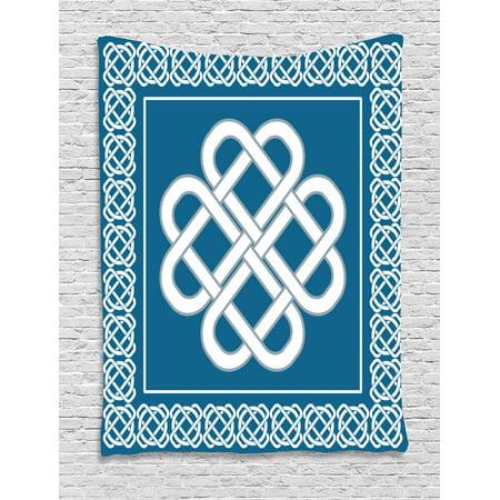 Irish Tapestry, Celtic Love Knot Good Fortune Symbol Framework Border Historical Amulet Design, Wall Hanging for Bedroom Living Room Dorm Decor, Dark Aqua White, by Ambesonne