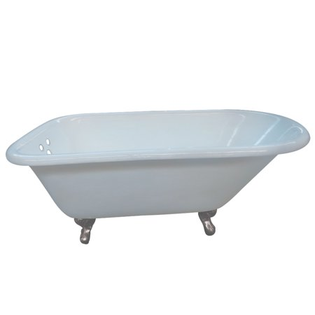 Aqua Eden 54-Inch Cast Iron Roll Top Clawfoot Tub with 3-3/8-Inch Wall Drillings and Feet, White/Brushed Nickel Cast Iron Soaker Tub