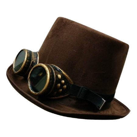 Steampunk Brown Suede Bell Topper Top Hat With Gold Goggles Costume Accessory (Steampunk Hat)
