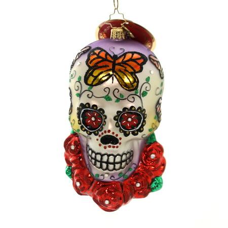 Christopher Radko A HEAD FOR DETAILS Glass Skeleton Skull Roses 1019524 (Radko Halloween)