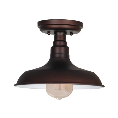 Design House 519884 Kimball 1-Light Ceiling Mount Industrial Light, Metal Shade, Coffee Bronze ()