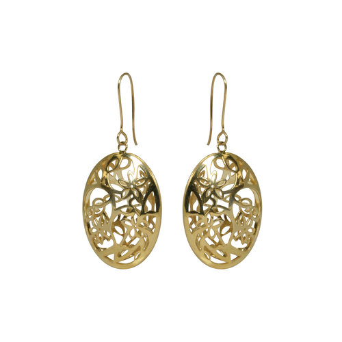 Forever New Gold Tone Oval Floral Dangle Earrings