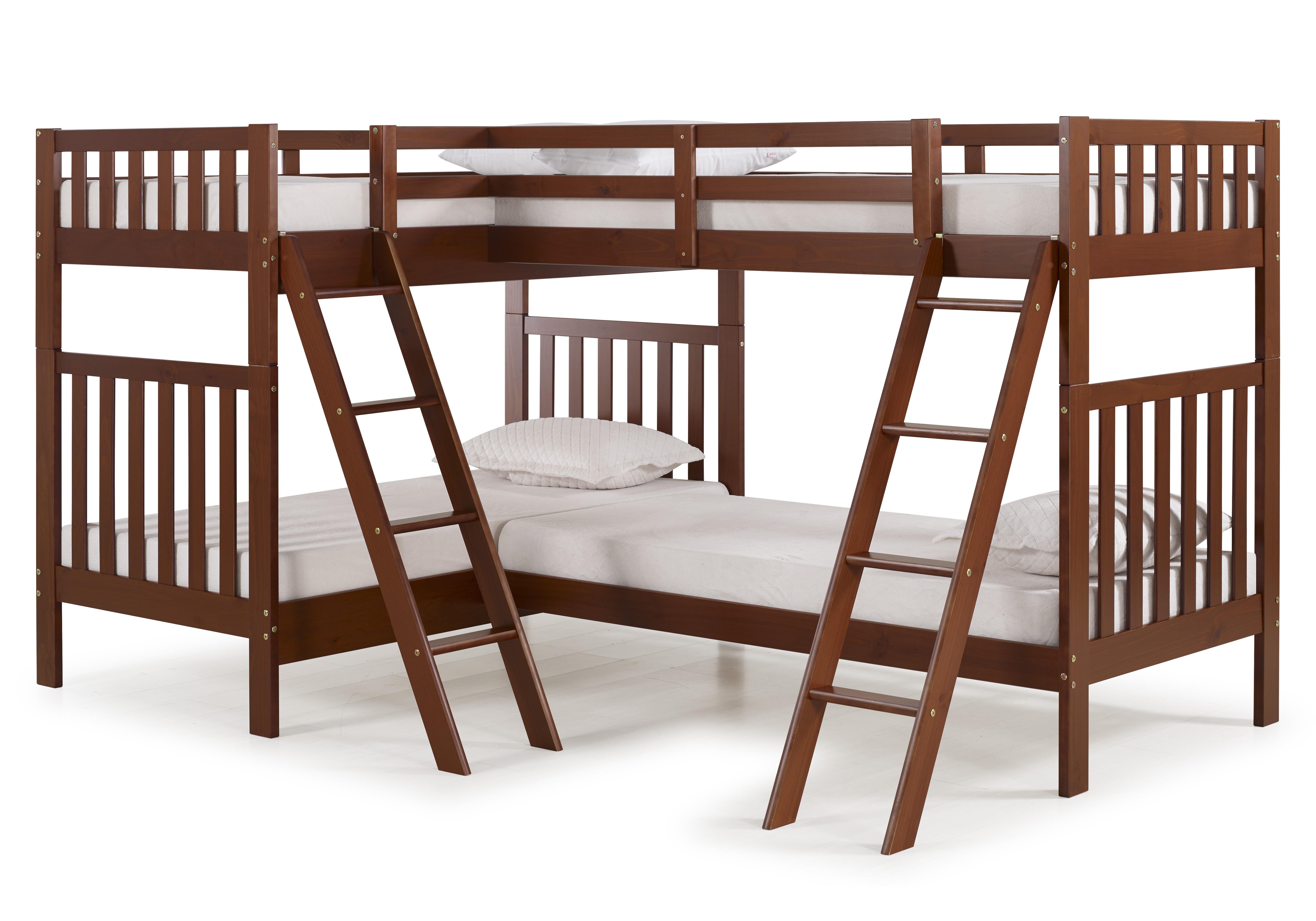 Aurora Twin Over Twin Bunk Bed With Quad Bunk Extension Chestnut Walmart Com Walmart Com