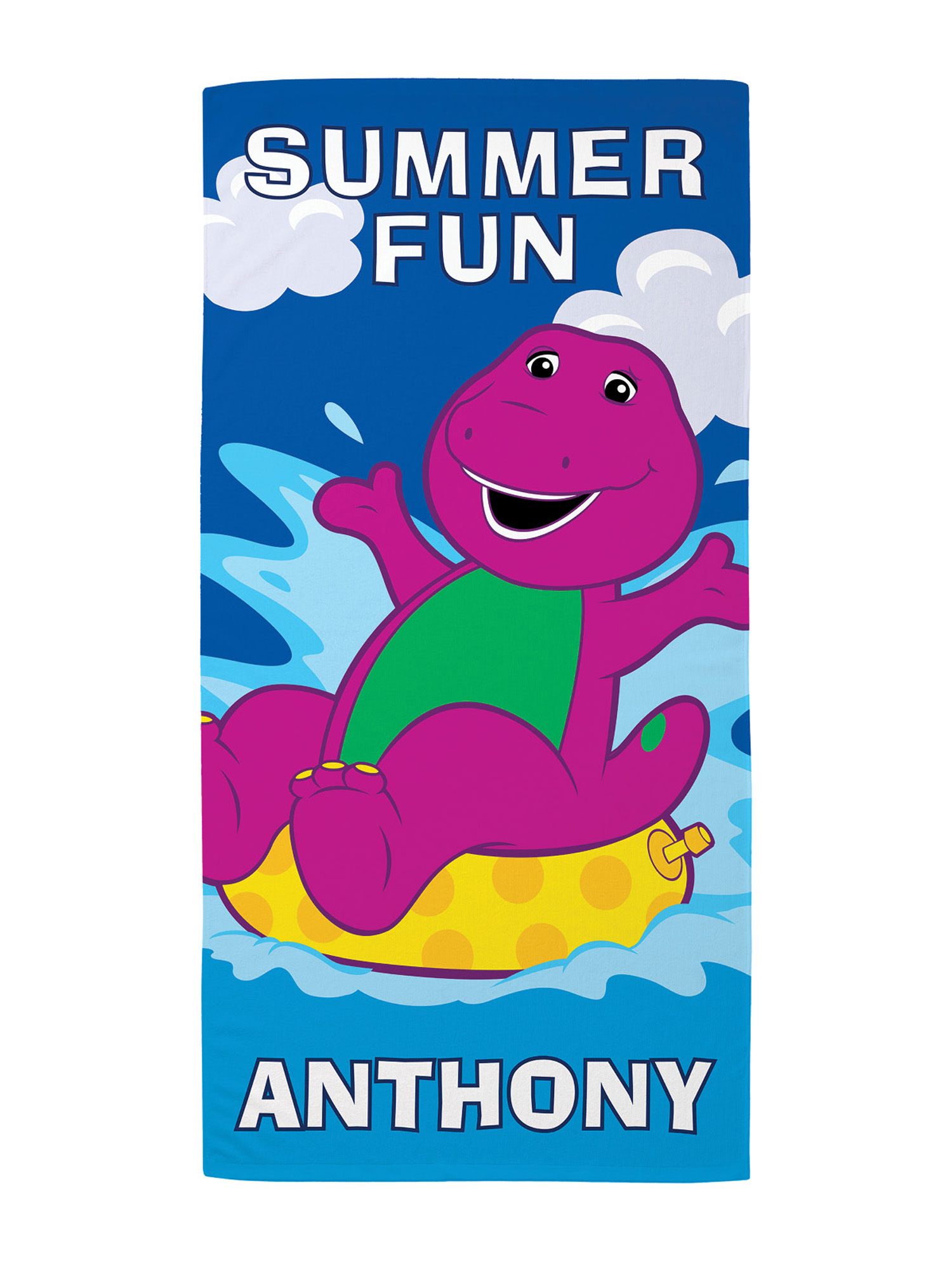 Personalized Barney Summer Fun Kids Beach Towel - Walmart.com