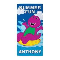 Personalized Barney Summer Fun Kids Beach Towel