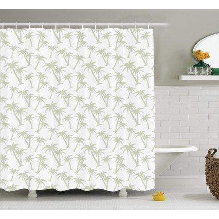 House Decor Shower Curtain Set, Tropical Coconut Palm Trees Pattern ...