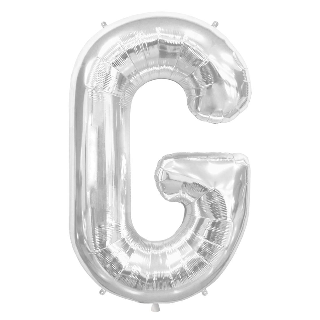 "Northstar Alphabet Letter G Shape Solid Jumbo Helium 34"" Foil Balloon, Silver"