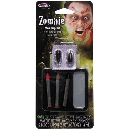Fun World Undead Zombie 7pc Makeup Kit, Grey Red Black - Simple Halloween Makeup Zombie