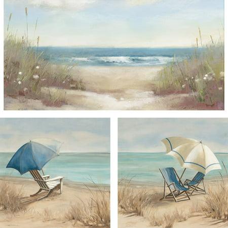 3 piece beach scene wall art set 23x23. Black Bedroom Furniture Sets. Home Design Ideas
