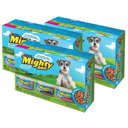 (3 Pack) Mighty Dog Hearty Pulled-Style in Gravy Variety Pack Wet Dog Food, 5.5 Oz, Case of