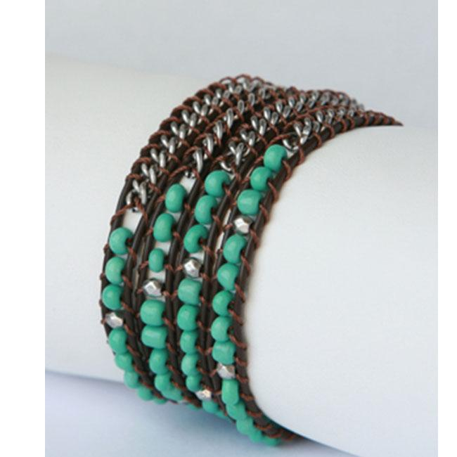 Zirconmania 610B-8695GRN Silver and Leather Green Beaded Wrap Bracelet