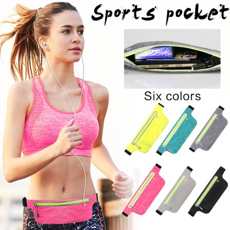 Waterproof Waist Bag Outdoor Sports Pocket Waist Pouch Zipper Ultra-thin Bag Workout Pouch Running Belt Pack Fanny Waist Bag(Pure Black)