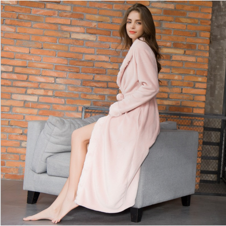 214a10f9cd6c Magshion - Magshion Women Cute Flannel Fleece Long Sleeve Soft Cozy Bath  Robe Sleepwear Warm Pink - Walmart.com