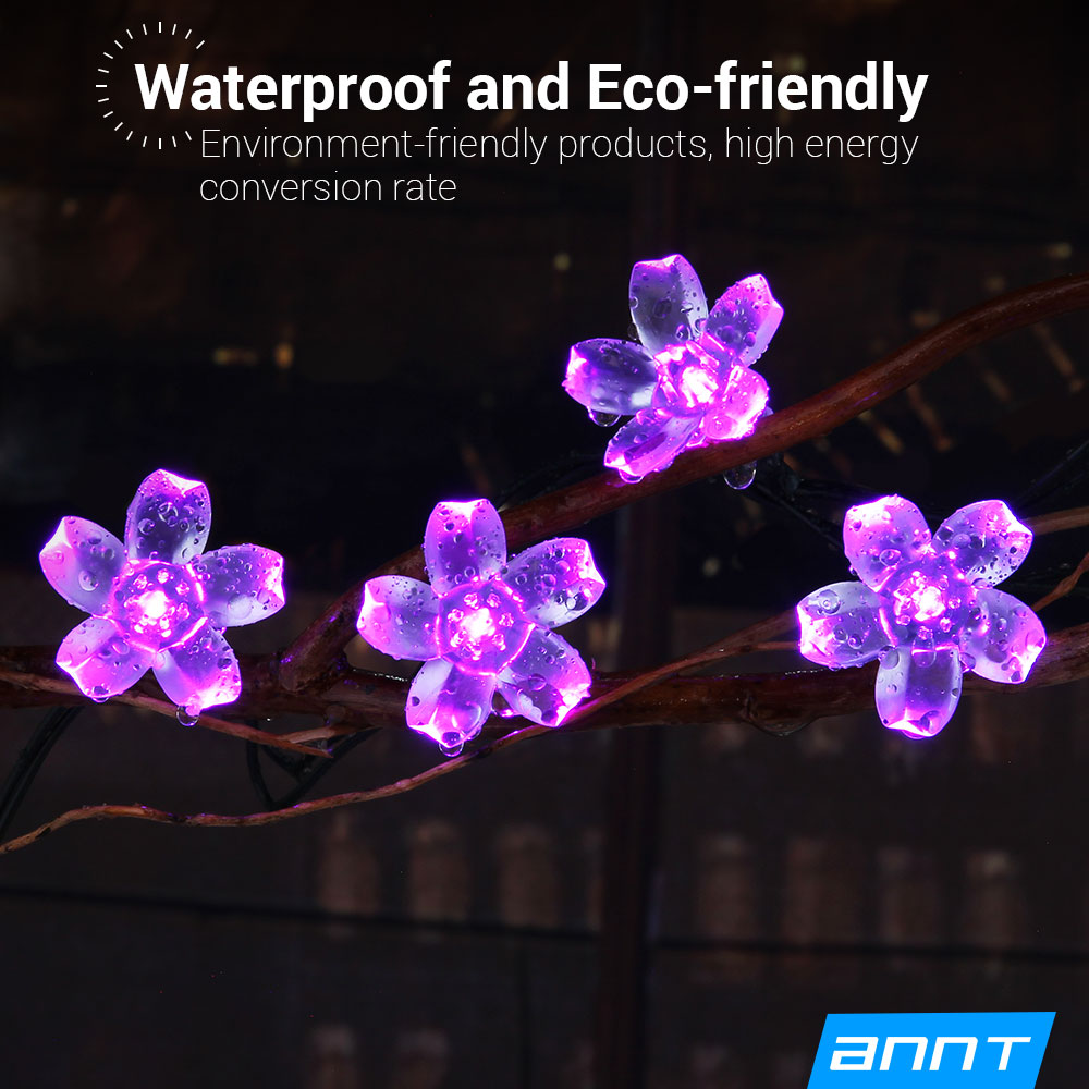 ANNT Solar Fairy String Lights 16.4ft Blossom Waterproof Christmas Light (50 LED Purple) by