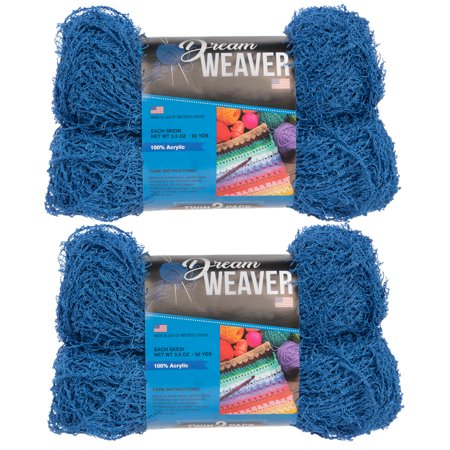 Dream Weaver (4 Pack) Scrubby 100% Acrylic Soft Blue Yarn For Knitting Crocheting Medium #4 - Dream Weavers