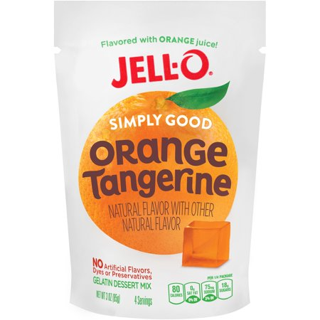 Jell O Gelatin Dessert Mix Simply Good Orange Tangerine  3 Oz