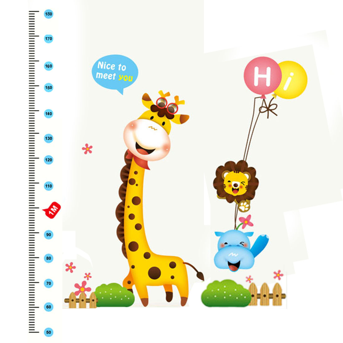 Unique Bargains Giraffe Height Chart Measure Design Removable Wall Decor Sticker Decal Room - image 2 of 2