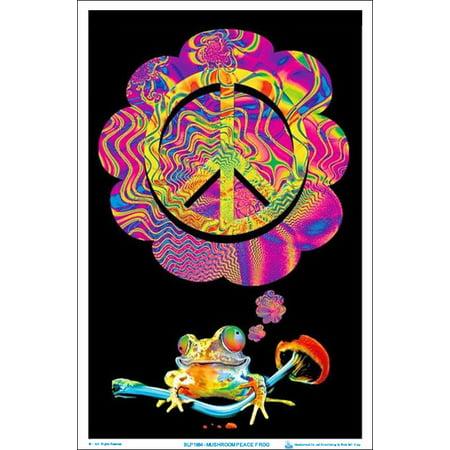 Mushroom Peace Frog Black Light Poster 23 x 35