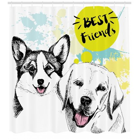 Labrador Shower Curtain, Best Friends Typography with Hand Drawn Sketch Welsh Corgi Grunge Illustration, Fabric Bathroom Set with Hooks, 69W X 75L Inches Long, Multicolor, by