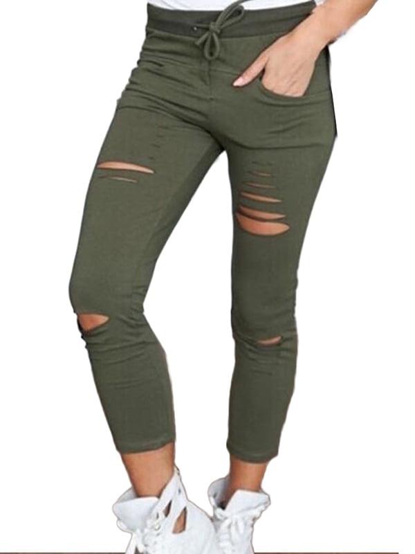 JIMSHOP Women Slim Stretch Hole Leggings Ripped Pants