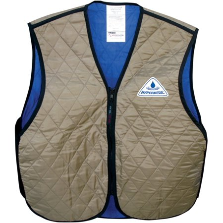 Hyper Kewl Evaporative Cooling Vest, Khaki, Size: Md, 6529KH-M by, Simple V neck with zipper closure; works for a wide range of people and uses By Techniche From USA