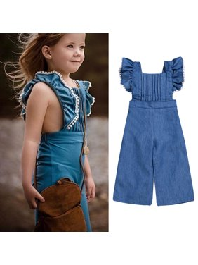 e60ee03c59e Product Image Toddler Baby Girl Ruffle Sleeve Bell Bottom Demin Romper  Jumpsuit Jeans Pants Outfits Clothes 80