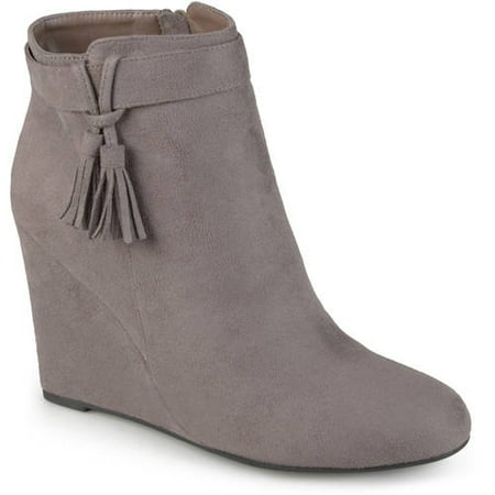 Womens Wedge Tasseled Faux Suede Booties