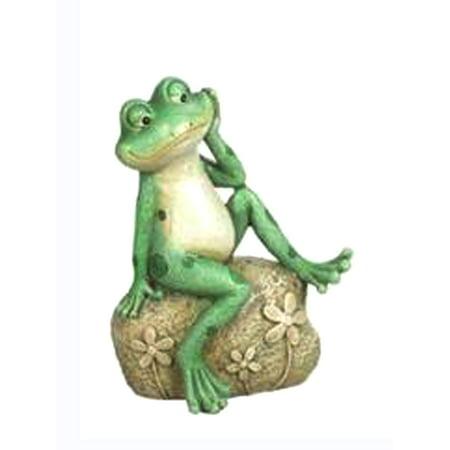 Sitting Dreamy Eyed Frog on Rock Figurine by - Frogs Rock