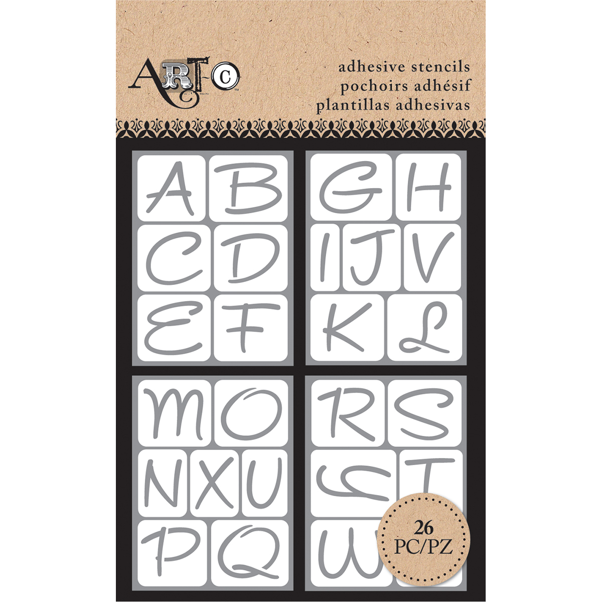 "Momenta Arc-C Adhesive Stencils, 3"" x 4"", Uppercase Alphas 4/Sheets"