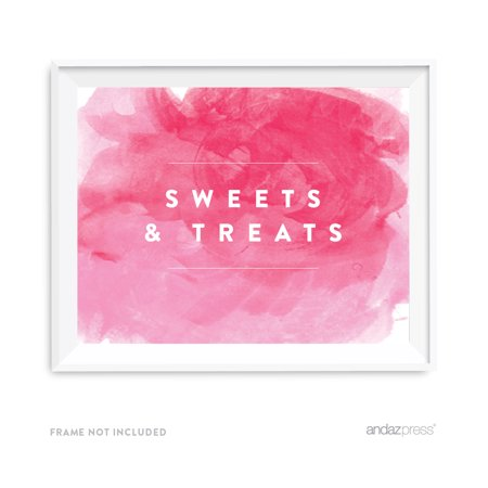 Sweets & Treats Pink Watercolor Wedding Party Signs - Small Pink Sweets