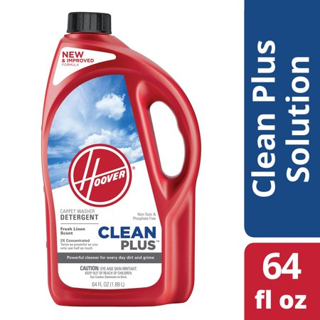 Hoover Cleanplus 2X Concentrated Carpet Cleaner and Deodorizer Solution 64 oz, (Hoover Carpet Detergent)