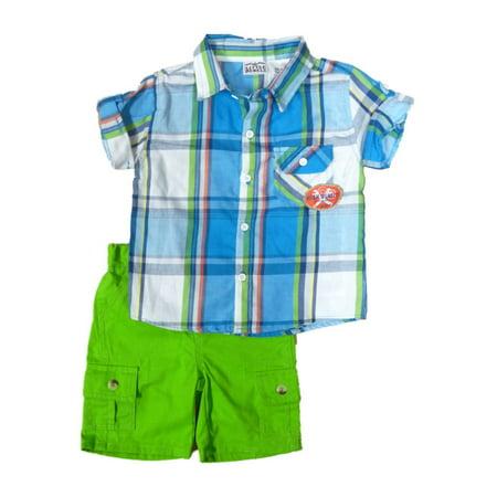 Little Rebels Infant & Toddler Boys Blue Plaid 2 Piece Shirt & Shorts Set 24m Blue Infant Two Piece