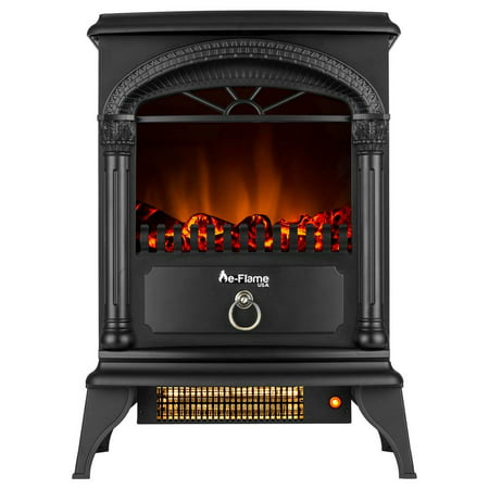 Hamilton Free Standing Electric Fireplace Stoveby e-Flame USA - Black White Electric Stove