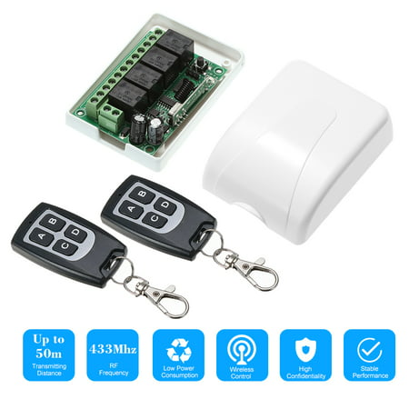 - 433Mhz DC 12V 4CH Universal 10A Relay Wireless Remote Control Switch Receiver Module and 2PCS 4 Key RF 433 Mhz Transmitter Remote Controls 1527 Chip Smart Home Automation