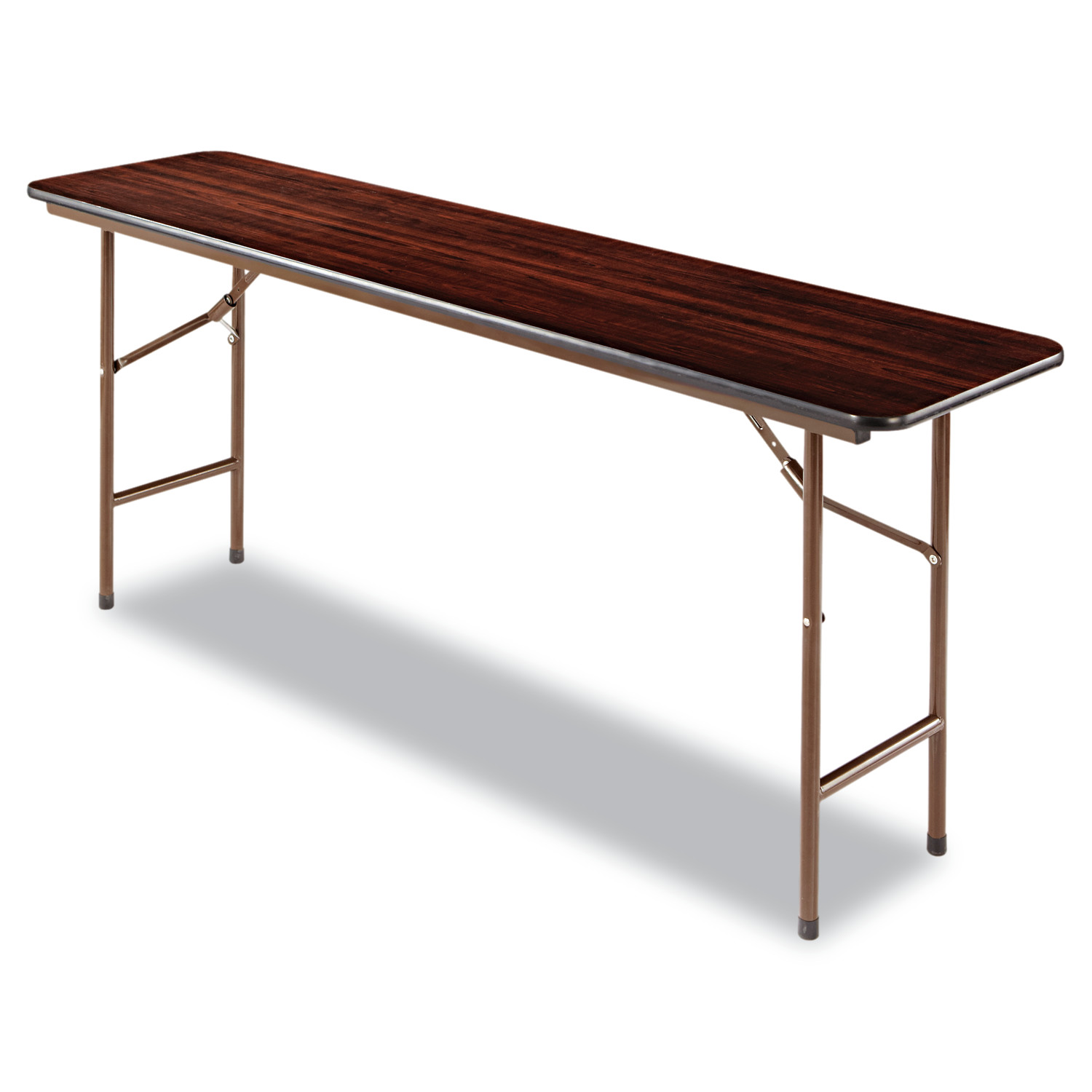 Alera Wood Folding Table, Rectangular, 72w x 18d x 29h, Walnut by ALERA